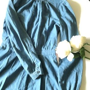 Mid length denim dress long sleeves size 6 NWT